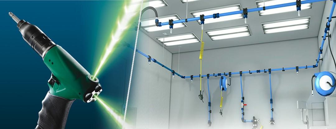 Tuốc nơ vít không khí với đầu vào 3 vị trí đảm bảo sự tự do di chuyển