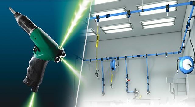 Bewegungsfreiheit mit dem Druckluftschrauber  mit dreifacher Druckluftzuführung